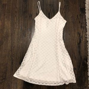 Design lab white lace fit and flare dress